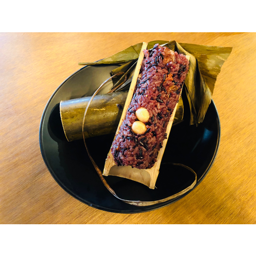 Sweet Sticky Purple Rice in Bamboo Tube 紫米竹筒飯
